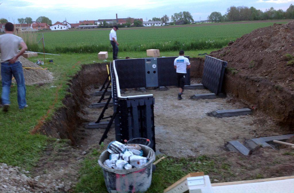 Aufbau Pool-Bauteile