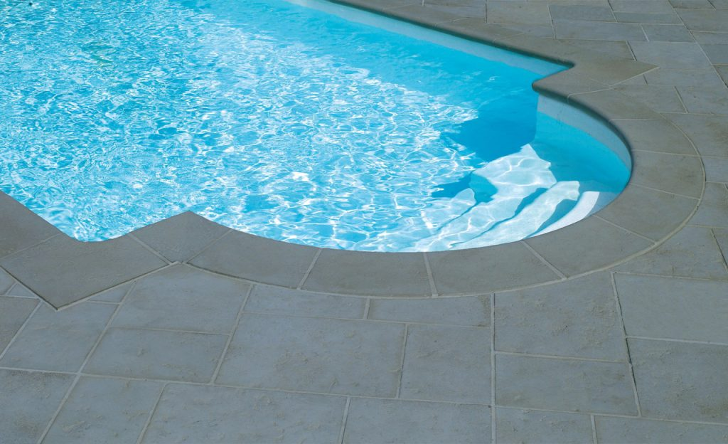 Beckenumrandung Pool-Randsteine Desjoyaux Tradition grau