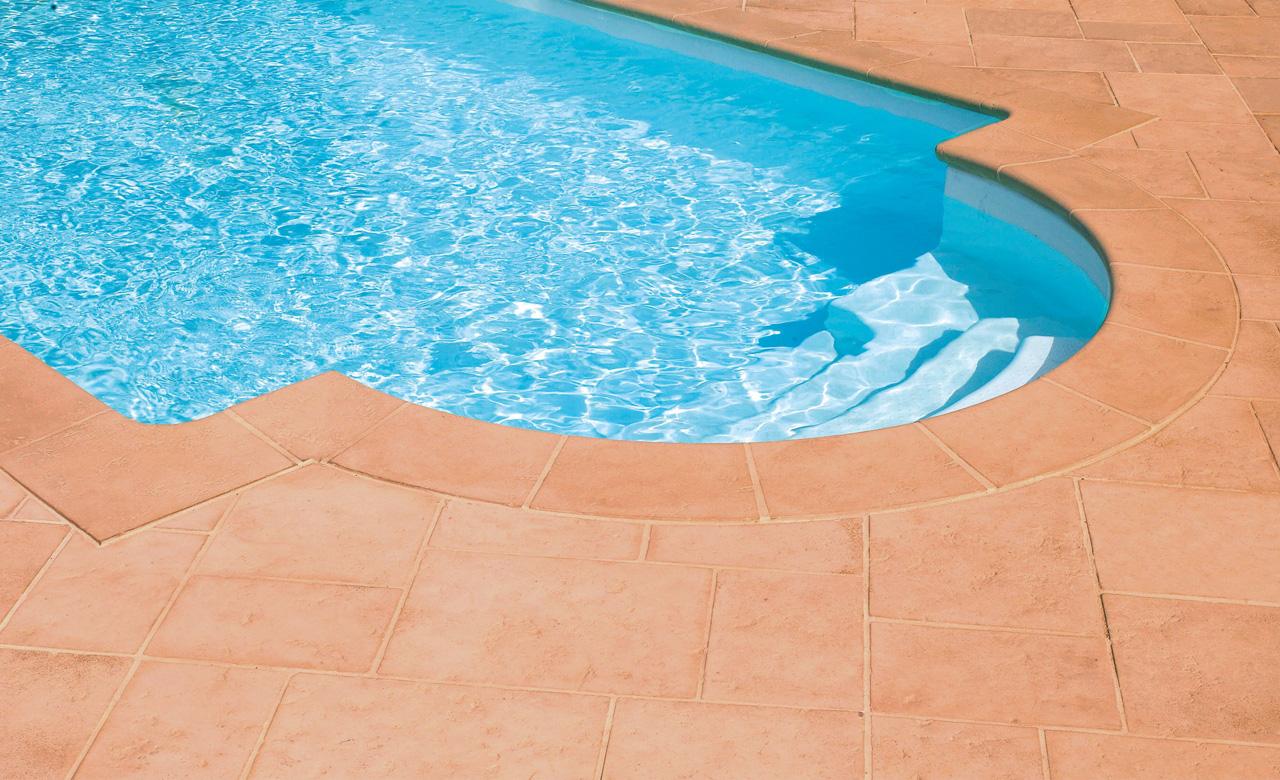 Beckenumrandung Pool Randsteine Desjoyaux Tradition Terrakotta